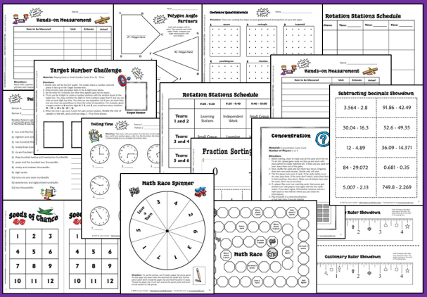 Math Stations Sample Pages