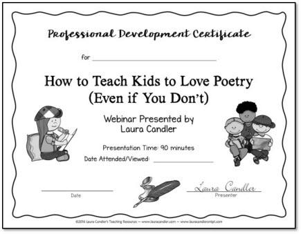 Poetry Webinar PD Certificate