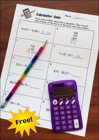 Calculator Quiz Freebie