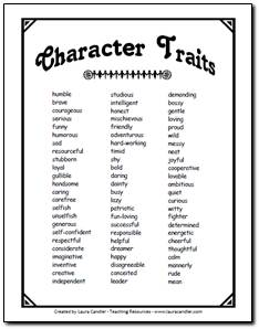 Character Trait List