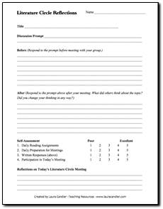 Literature Circles Before and Aftter Evaluation Form