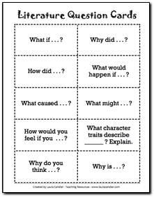 Literature Circles Question Cards