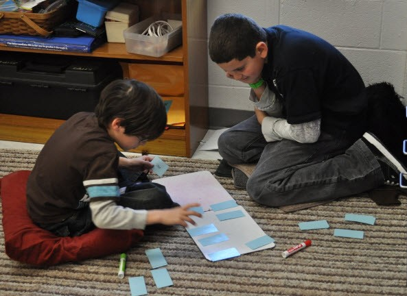 Students working in math stations.