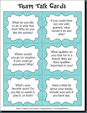 Team Talk Question Cards